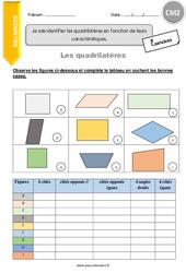 Je sais identifier les quadrilatères en fonction de leurs caractéristiques – CM2 – Exercices à imprimer