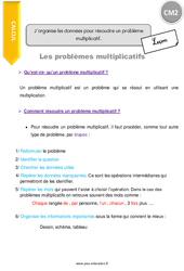 J'organise les données pour résoudre un problème multiplicatif - CM2 - Leçon