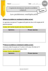 J'organise les données pour résoudre un problème multiplicatif - CM2 - Exercices avec correction