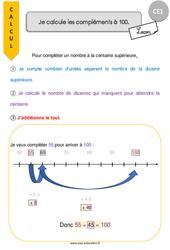 Je calcule les compléments à 100 – CE1 – Leçon