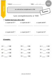 Je calcule les compléments à 100 – CE1 – Exercices à imprimer