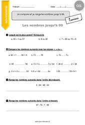 Je compare et je range les nombres jusqu'à 99 – CE1 – Exercices avec correction