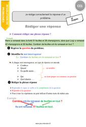 Je rédige correctement la réponse d'un problème - CE1 - Leçon