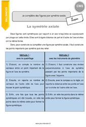 Je complète des figures par symétrie axiale – CM1 – Leçon
