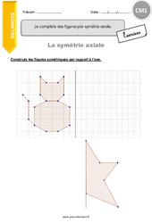 Je complète des figures par symétrie axiale – CM1 – Exercices avec correction