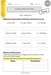 Je fais des calculs sur les masses - CM1 - Exercices à imprimer