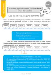 Je repère et je place les nombres jusqu'à 999 999 999 sur une droite graduée – CM1 – Leçon