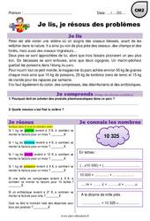 Addition, multiplication, poids, euros - CM2 - Je lis et je résous des problèmes