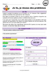 Mesures de contenances - CM2 - Je lis et je résous des problèmes
