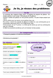 Addition, multiplication, euros – CM2 – Je lis et je résous des problèmes