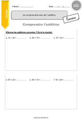 Je comprends le sens de l'addition – CE1 – Exercices avec correction