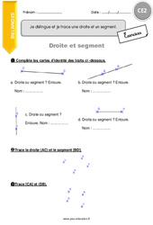 Je distingue et je trace une droite et un segment - CE2 - Exercices avec correction