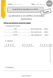 Je sais effectuer des divisions à un chiffre - CM2 - Exercices à imprimer