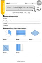Je sais lire, écrire et comparer à l'unité des fractions simples - CM2 - Exercices avec correction