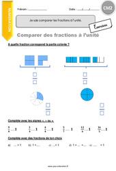 Je sais comparer les fractions à l'unité - CM2 - Exercices avec correction