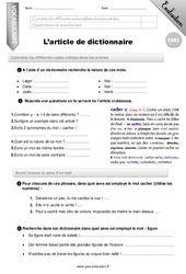 L'article de dictionnaire – CM2 – Evaluation – Bilan