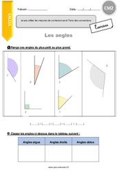 Je compare et trace des angles – CM2 – Exercices à imprimer