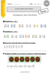 Je sais comparer des fractions - CM2 - Exercices avec correction