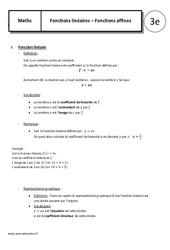 Fonctions lineaires – Fonctions affines – Cours – 3ème