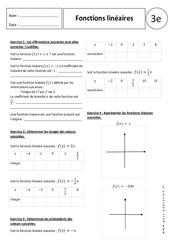 Fonctions linéaires – 3ème – Exercices corrigés