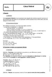 Calcul littéral - 4ème - Cours