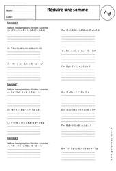 Réduire une somme – Exercices corrigés – 4ème - Calcul littéral