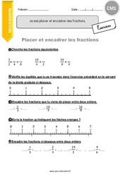Je sais placer et encadrer des fractions - CM1 - Exercices à corriger