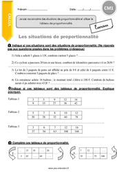 Je sais reconnaitre des situations de proportionnalité et utiliser le tableau de proportionnalité – CM1 – Exercices à imprimer