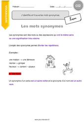 J'identifie et trouve les mots synonymes – CE2 – Leçon