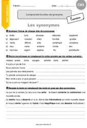 Comprendre la notion de synonyme - CM1 - Exercices à imprimer