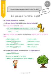 Savoir que le sujet peut être un groupe nominal - CM1 - Leçon