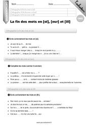 La fin des mots en [oi], [eur] et [ill] – CM2 – Evaluation – Bilan