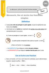Découvrir, lire et écrire les fractions simples - CM1 - Leçon