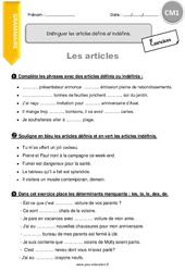 Distinguer les articles définis et indéfinis – CM1- Exercices à imprimer
