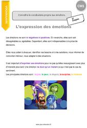 Connaître le vocabulaire propre aux émotions – CM1 – Leçon