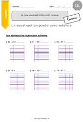 Je pose une soustraction avec retenue - CE1 - Exercices avec correction