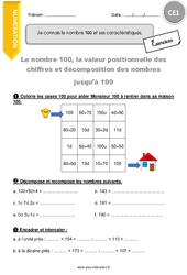 Je connais le nombre 100 et ses caractéristiques – CE1 – Exercices avec correction