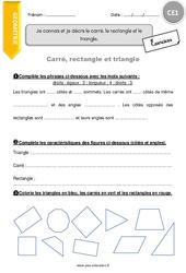 Je connais et je décris le carré, le rectangle et le triangle - CE1 - Exercices à imprimer