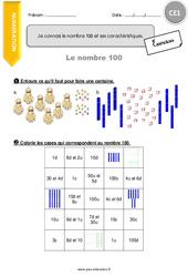 Je connais le nombre 100 et ses caractéristiques – CE1 – Exercices à imprimer
