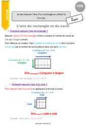 Je sais mesurer l'aire d'un rectangle en utilisant la formule – CM2 – Leçon