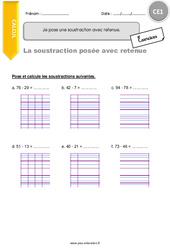 La soustraction avec retenue - CE1 - Exercices avec correction