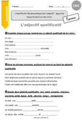 Exercice Adjectif Qualificatif Cm1 Cycle 3