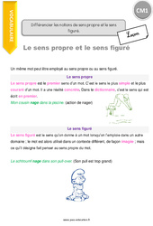 Différencier les notions de sens propre et le sens figuré - CM1 - Leçon