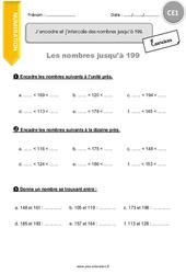 J'encadre et j'intercale des nombres jusqu'à 199 – CE1 – Exercices à imprimer