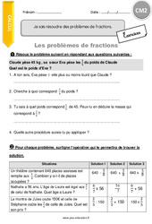 Je sais résoudre des problèmes de fractions - CM2 - Exercices avec correction