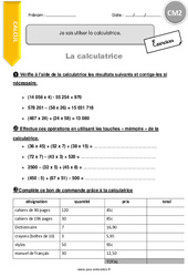 Savoir utiliser la calculatrice - CM2 - Exercices avec correction